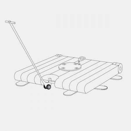 Base mobile en béton et stabilisateurs